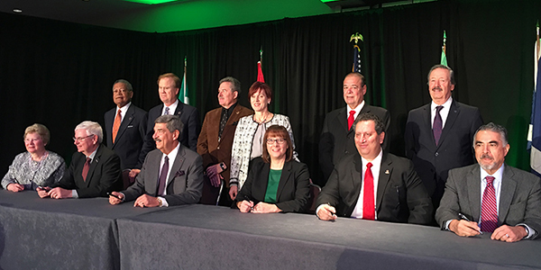 CPA Alberta CEO Rachel Miller (seated in centre) was part of the Canadian delegation for this signing in #NYC